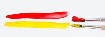 Кисти и краска изолированные на белизне Стоковое Изображение