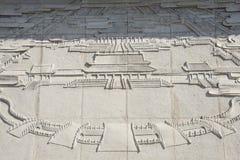 Китаец Азии, Пекин, усыпальницы династии Ming, музей Dingling, дворец ŒThe ¼ reliefsï стены имперский Стоковые Изображения