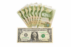 Китайская банкнота rmb денег и американский доллар Стоковое фото RF