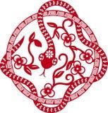 Китайская бумага отрезала змейку как символ года Стоковое Изображение RF