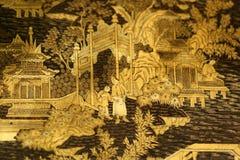Китайская восточная деталь мебели лака черного золота стоковые изображения rf