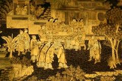Китайская восточная деталь мебели лака черного золота стоковое изображение rf