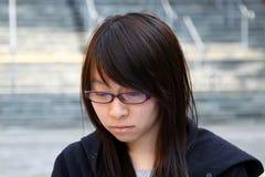 китайская девушка стороны унылая Стоковая Фотография