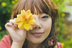 китайская девушка цветка Стоковое Изображение