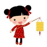 Китайская девушка - счастливый китайский Новый Год Стоковое Изображение