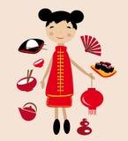 китайская девушка иллюстрация вектора