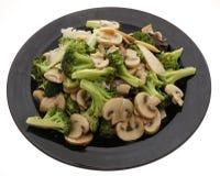 китайская еда Брокколи с китайскими грибами Стоковые Фото
