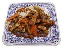 китайская еда Зажаренные aubergines с овощами Стоковое фото RF