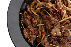 китайская еда Китайская пряная телятина на ручке Стоковая Фотография