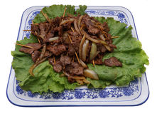 китайская еда Китайская пряная телятина на ручке Стоковые Изображения RF