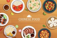 Китайская еда на деревянной предпосылке иллюстрация вектора