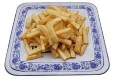 китайская еда обломоки изолировали белизну картошки Стоковая Фотография