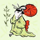 Китайская женщина в зеленом кимоно с красным зонтиком Стоковые Изображения RF