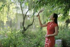 Китайская женщина в cheongsam озером в древнем городе Mudu стоковые изображения rf