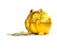 Китайская золотая копилка свиньи с тайскими деньгами на поле Стоковые Изображения RF