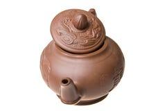 китайская изолированная белизна чайника Стоковые Изображения RF