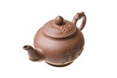 китайская изолированная белизна чайника Стоковое Фото