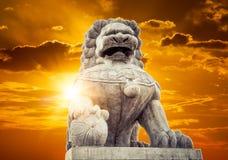китайская имперская статуя льва Стоковое Изображение