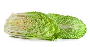 Китайская капуста и половина изолированные на белой предпосылке Стоковые Изображения