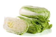 3 китайская капуста и половина изолированные на белой предпосылке Стоковые Фото