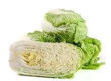 3 китайская капуста и половина изолированные на белой предпосылке Стоковая Фотография