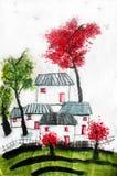 Китайская картина каллиграфии захолустной китайской деревни Стоковое Изображение RF