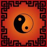 Китайская красная и черная предпосылка Дао иллюстрация штока