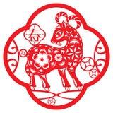 Китайская красная иллюстрация овец везения Стоковые Изображения RF