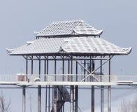 Китайская крыша в снеге Стоковая Фотография