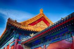 китайская крыша традиционная национальный тип Готовое яркое знамя Стоковое фото RF