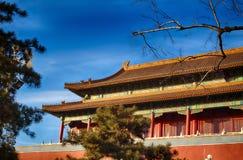 китайская крыша традиционная национальный тип Готовое яркое знамя Стоковое Фото