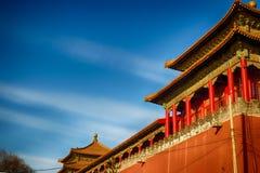 китайская крыша традиционная национальный тип Готовое яркое знамя Стоковые Изображения