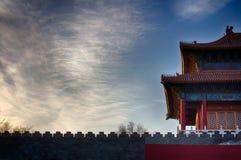 китайская крыша традиционная национальный тип Готовое яркое знамя Стоковые Фотографии RF