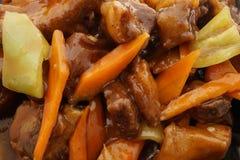 китайская кухня китайская еда Нервюры свинины в соусе Стоковое Изображение