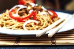 Китайская лапша с мясом Стоковая Фотография RF