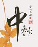 Китайская осень иероглифа, счастье, правда иллюстрация вектора