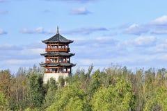 Китайская пагода окруженная зелеными деревьями, Чанчунь, Китай Стоковая Фотография RF
