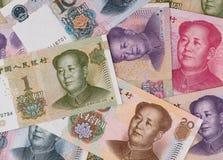 Китайская предпосылка банкнот юаней, крупный план денег Китая Стоковые Изображения RF