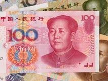 Китайская предпосылка валюты юаней, крупный план денег Китая Стоковые Фотографии RF