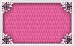 Китайская рамка прямоугольника на предпосылке розовой картины восточной для украшения поздравительной открытки Стоковые Фотографии RF