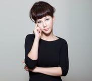 китайская созерцательная женщина мыслей потревожилась Стоковые Изображения RF