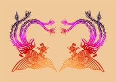 Китайская старая картина Феникса Стоковое фото RF