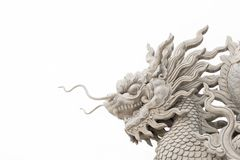 Китайская статуя головы дракона изолированная на белой предпосылке Стоковое Фото