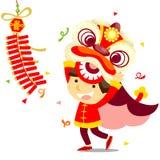 Китайская танцулька льва Стоковая Фотография