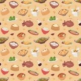 Китайская традиционная еда испарилась вектор картины вареника азиатский очень вкусный безшовный Стоковое Изображение RF