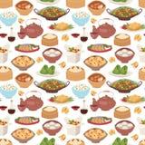 Китайская традиционная еда испарилась вектор картины вареника азиатский очень вкусный безшовный Стоковое Изображение