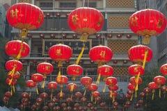 Китайские бумажные фонарики в китайском Новый Год, городке фарфора Yaowaraj Стоковые Изображения