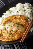 Китайские детеныши Foo яйца омлета служили с концом-вверх риса r стоковые изображения