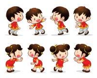 Китайские действия девушки мальчика Стоковые Изображения