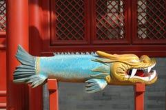 Китайские деревянные буддийские рыбы Стоковая Фотография